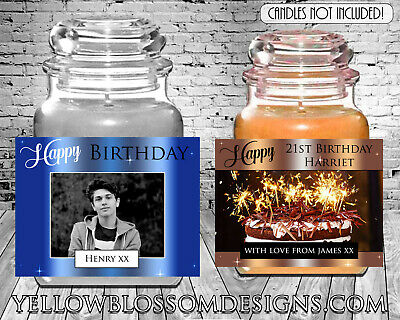 Personalised Yankee Candle Label Happy Birthday Gift 21st 30th 40th 50th Photo