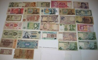 Collection of 31 old world banknotes. Job lot.