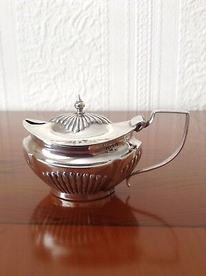 A beautiful salt/mustard solid silver lidded pot. Birmingham K