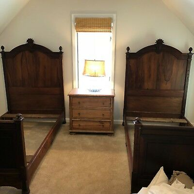 Antique walnut grand twin bed sets