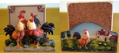 Set of 4 Rooster Coasters in a ROOSTER holder by A. RICHESCA CARPARATIAN