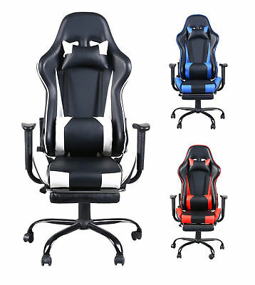 High Back Executive Computer Desk Office Chair Black Racing Gaming Recliner USA