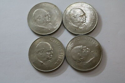 Uk Gb Churchill Crown 1965 - 4 Coins A93 Pzm40