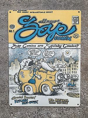 Zap Comix #1 1968 R.Crumb Griffin Mr. Natural Comic Book Poster Metal Sign