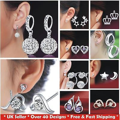 925 Sterling Silver Plated Women's CZ Crystal Stud Hoop Kids Earrings