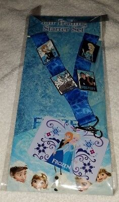 Disney FROZEN Lanyard Pin Starter Set Authentic - Anna Elsa Olaf Kristoff Sven