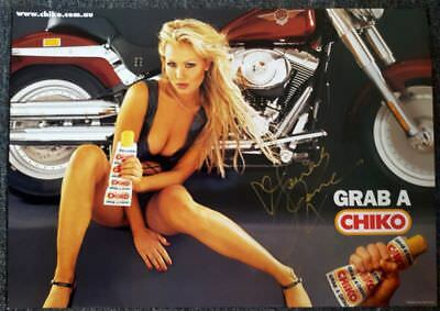Rare Banned Chiko Roll - Harley-Davidson Poster Personally Signed By Sarah Jane