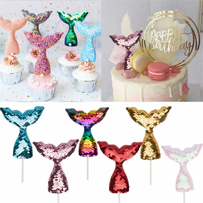 2PC Mermaid Tail Cake Topper Sequins Baby Shower Birthday Cupcake Decoration
