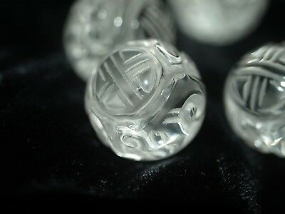 One Vintage Carved Chinese Shou and Dragon Design Clear Crystal Quartz Bead 18mm