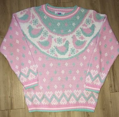 Vintage Pastel Sparkly Bird Sweater By Heartworks 80s Kawaii Fairy Kei