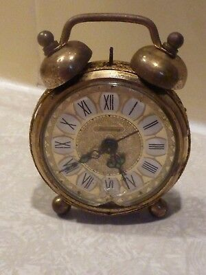 Ornate Brass Filigree BLESSING Double BELL Alarm CLOCK West GERMANY Vintage (D8)