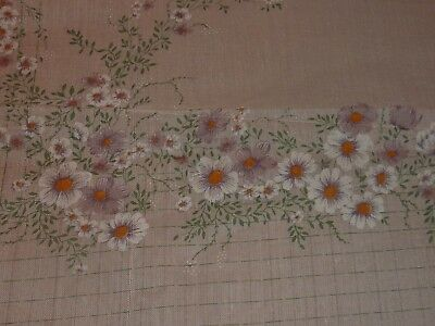 """Retro Tablecloth Borders Of White & Violet Flowers On Creme 53"""" X 78"""" (D8 70)"""