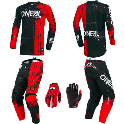 O'Neal Element Red motocross gear - Jersey Pants Gloves Kids / Youth combo set