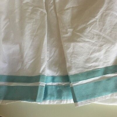 Pottery Barn baby Kids Harper Teal Aqua White Crib Bed Skirt