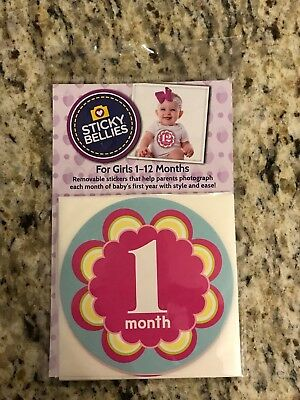 STICKY BELLIES Kaleidoscope Cutie baby monthly photo stickers Girl NEW pink blue