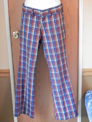 Vintage Mens Jeans 27 x 28 Red White Blue Yellow Plaid Flared Sears  1970's