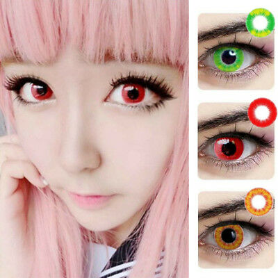 1 Pair Unisex Unlimited Fire Cosplay Halloween Coloured Contact Lens Con Clase