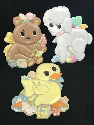 Vintage Hand Painted Ceramic Nursery Wall Plaques - Set Of 3 - Duck, Bear, Lamb
