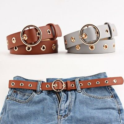 New Round Buckle Wide Belt Woman Hollowed-out Air Eye Lady Belt Fashion Air Belt
