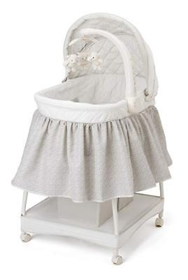 Delta Children Deluxe Gliding Bassinet,Silver Lining Adjustable,Removable canopy