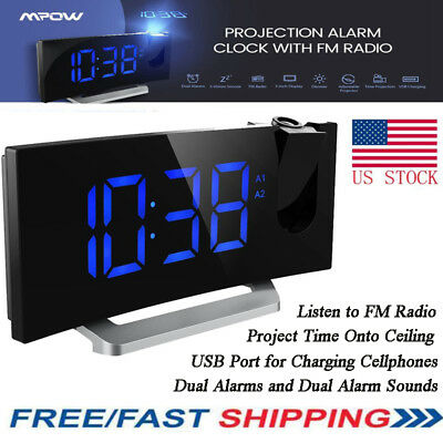 Digital LCD Projector Snooze Alarm Clock Projection Time Blue LED Ceiling USB