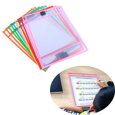 10x Resuable Dry Erase Pocket Sleeves Students Kids Write and Wipe Tool Pockets