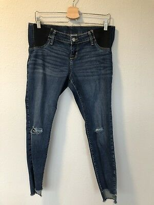 Isabel Maternity Jeans Size 6 Distressed Skinny Jeans Cotton Blend Raw Hem