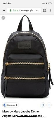 e20e067cf0 MARC BY MARC JACOBS black Nylon Backpack With Gold Zippers -  61.00 ...