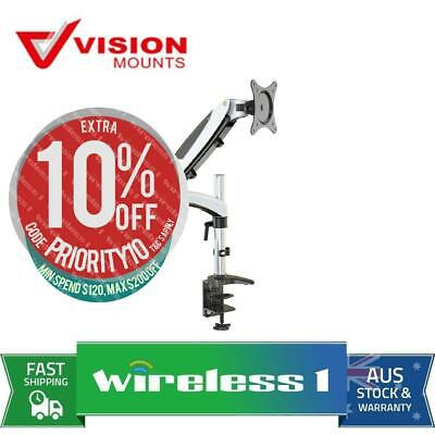 Brand New Vision Mounts VM-GM112D Gas Spring Desk Clamp Single Monitor Arm up to