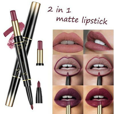 New Double Ended Sexy Lasting Matte Waterproof Lip Liner and Lipstick Pencils