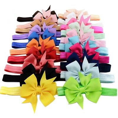 20Pcs Newborn Baby Girls Vintage Headband Lot Elastic Hair Bow Ribbon Headdress