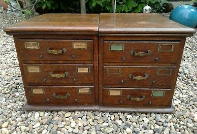 A PAIR OF ANTIQUE 19th CENTURY OAK CARD INDEX DRAWERS C. 1870's