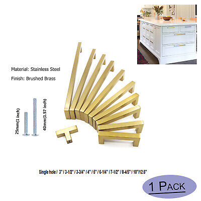 Brushed Brass Cabinet Door Handles Gold Kitchen Drawer Pulls Knobs Square 2-13in