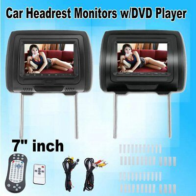 "7"" Black Car Headrest Monitors w/ DVD Player USB/HDMI + Games Controller US"