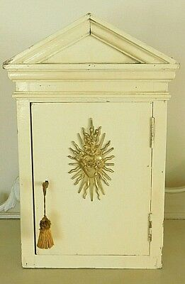 Antique French Tabernacle Gold Immaculate Heart of Mary Detail Original Key