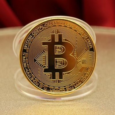 Bitcoin Physical Collectible Coin BTC Gold Plated 1 Ounce 40mm Gift