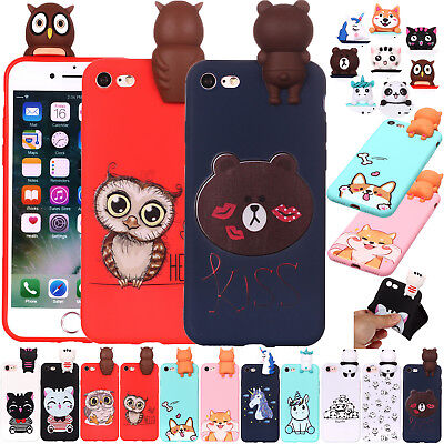 Cute 3D Animal Cat Unicorn Soft Rubber Case Cover For iPhone 7 8 XR XS Max 6S SE
