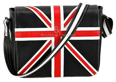 Leather Cross Body Unisex Bag Union Jack Black Laptop,Satchel,Messenger Bag 2760