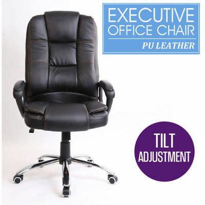 PU Leather High Back Executive Office Computer Desk Seat 360° Swivel Chair Black