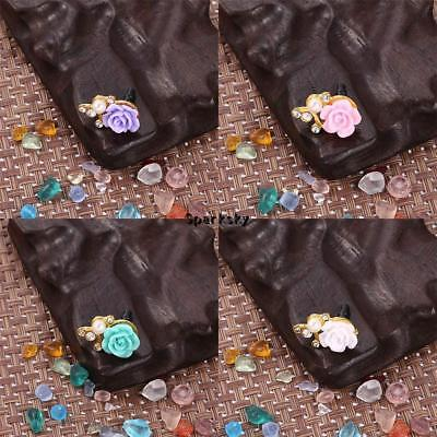 3.5mm Jack Flower Shape Plastic Pearl Rhinestone Mobile Phone Dust Plugs LEBB