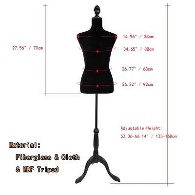 New Black Female Mannequin Torso Clothing Display Dress W/ Black Tripod Stand