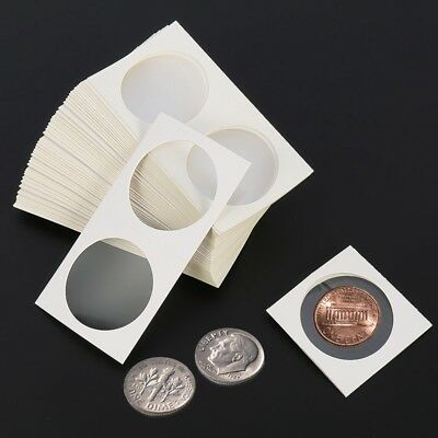 50x Self Adhesive Coin Holders Coin Collect Protect 40mm Paper Square UK