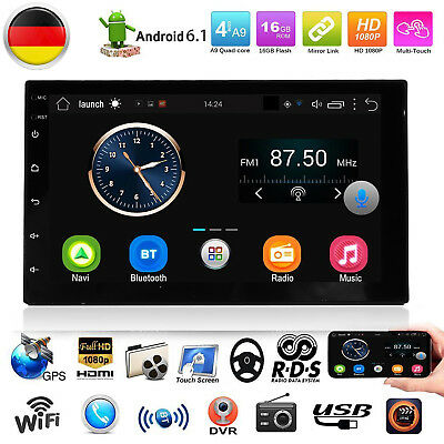 "Android 6.0 7"" Doppel 2DIN Autoradio Navi MP5 Player Navi GPS Navigation Wifi DE"