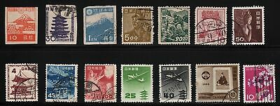 Japan 1945 - 1965 used collection - 14 stamps