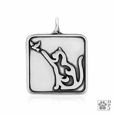 Cat with Bird  - Sterling Silver Pendant