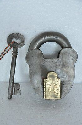 Old Iron Handcrafted Noreton & Langlev Unique Padlock , Rich Patina