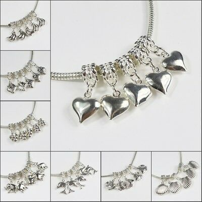 Silver Pendants Starfish Shell Fruits Ribbon Charm Beads for European Bracelet
