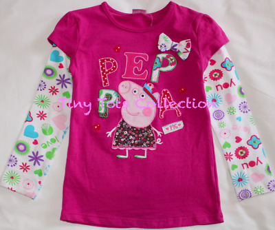 NEW with tags BNWT girls peppa pig long sleeve top magenta plum pink sizes 1-5