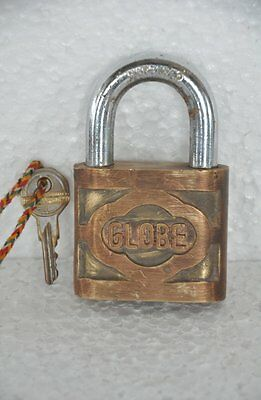 Old Brass Handcrafted GLOBE Brand Solid Unique Shape Padlock , Rich Patina
