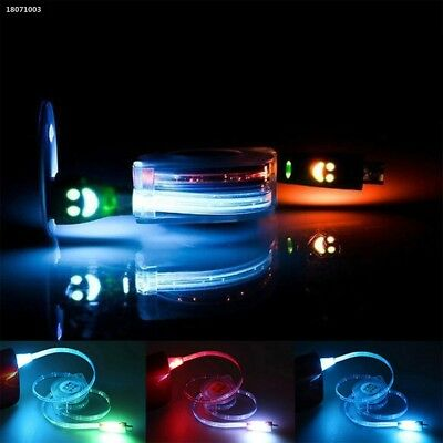 Smile Face LED Light Emitting Retractable Micro USB Charging Cable Line 63B5
